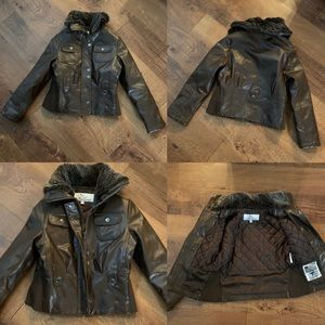"""Girls """"pleather"""" moto jacket with furry collar 7/8"""